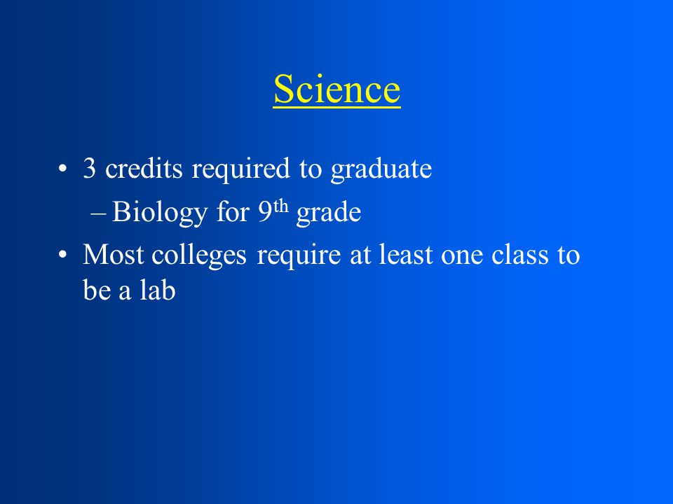 Science 3 credits required to graduate –Biology for 9 th grade Most colleges require at least one class to be a lab