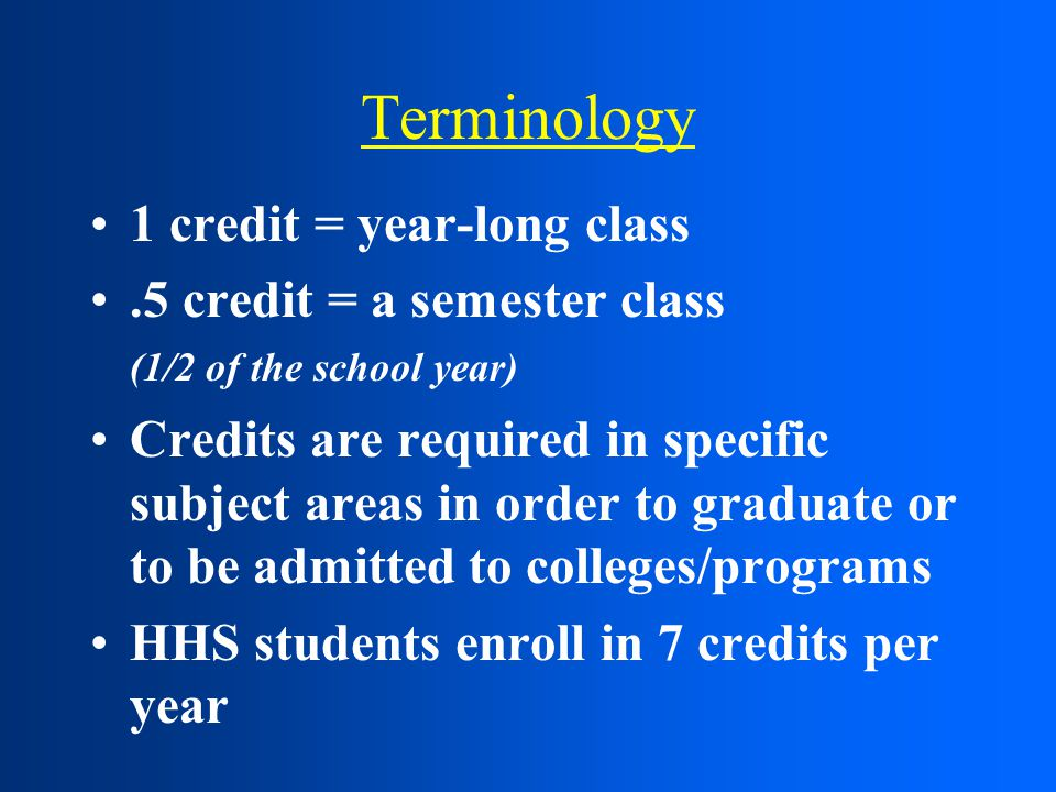 Terminology 1 credit = year-long class.5 credit = a semester class (1/2 of the school year) Credits are required in specific subject areas in order to graduate or to be admitted to colleges/programs HHS students enroll in 7 credits per year