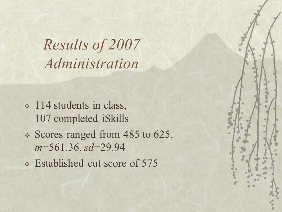 Results of 2007 Administration  114 students in class, 107 completed iSkills  Scores ranged from 485 to 625, m=561.36, sd=29.94  Established cut score of 575