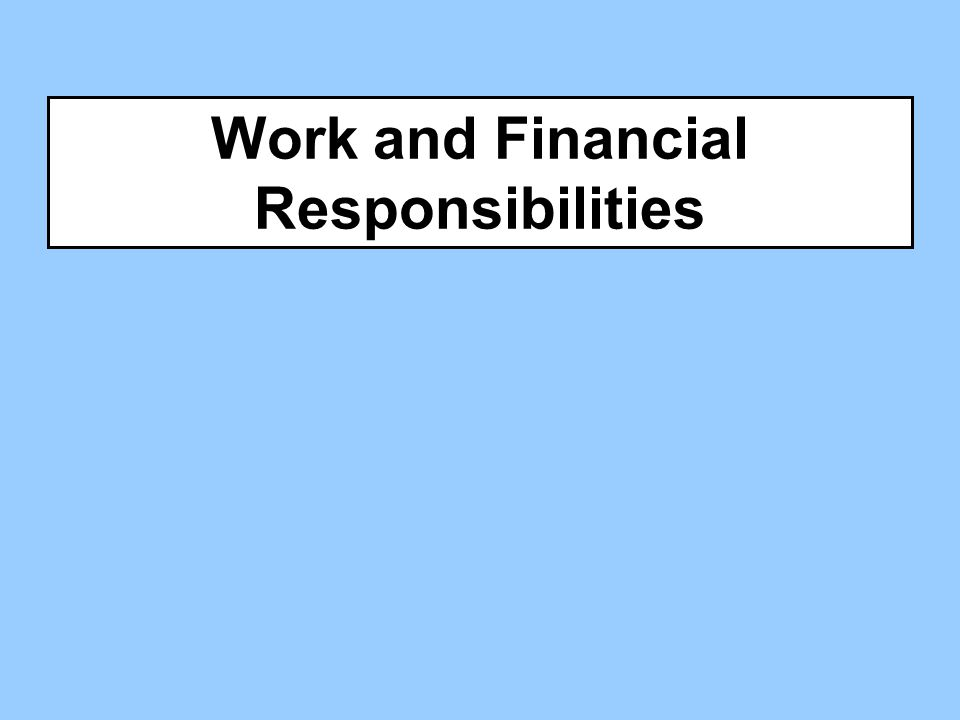 Work and Financial Responsibilities
