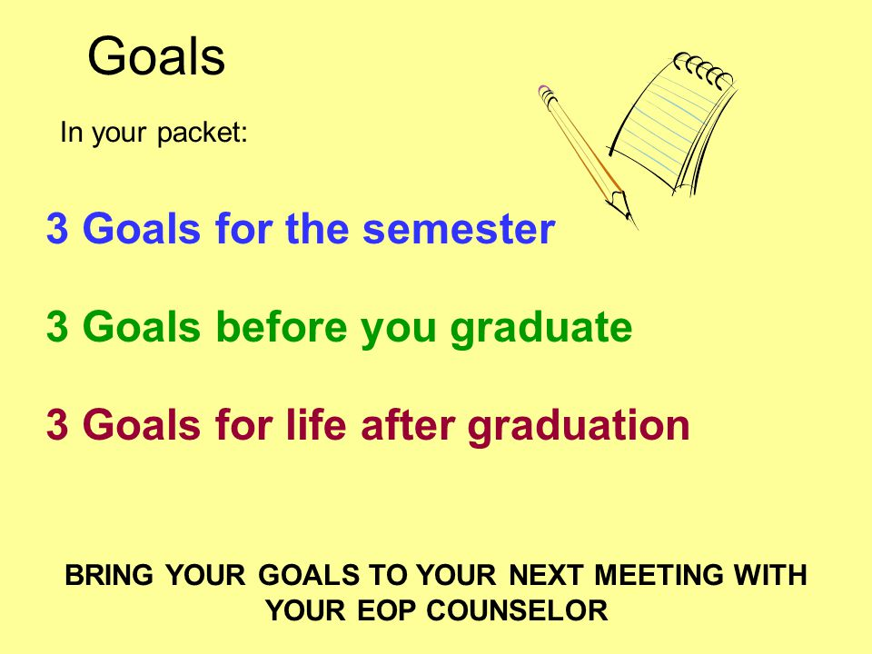 Goals 3 Goals for the semester 3 Goals before you graduate 3 Goals for life after graduation In your packet: BRING YOUR GOALS TO YOUR NEXT MEETING WITH YOUR EOP COUNSELOR