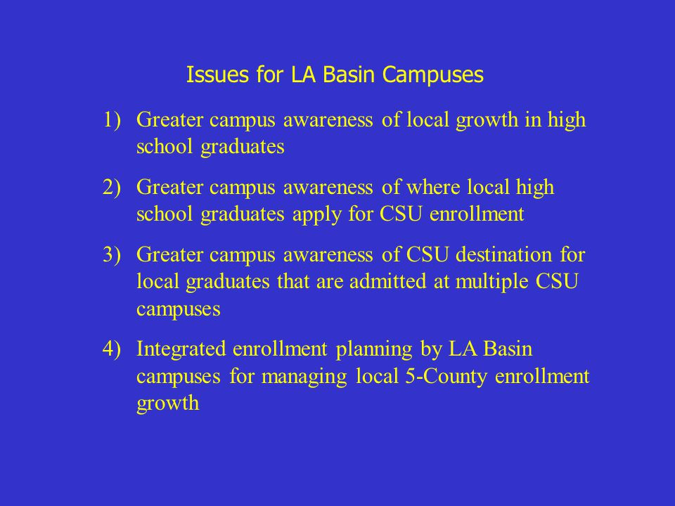 Issues for LA Basin Campuses 1)Greater campus awareness of local growth in high school graduates 2)Greater campus awareness of where local high school