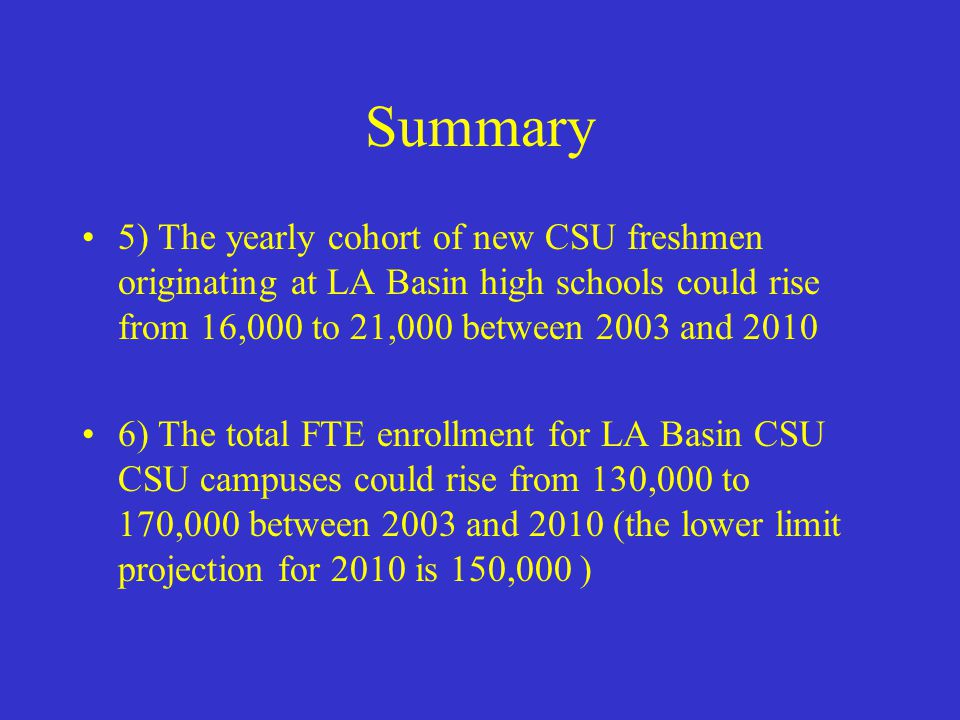 Summary 5) The yearly cohort of new CSU freshmen originating at LA Basin high schools could rise from 16,000 to 21,000 between 2003 and 2010 6) The total FTE enrollment for LA Basin CSU CSU campuses could rise from 130,000 to 170,000 between 2003 and 2010 (the lower limit projection for 2010 is 150,000 )