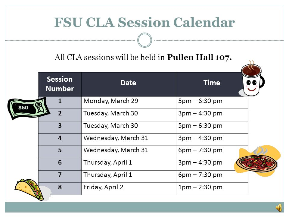 Review the CLA administration calendar on the next slide.