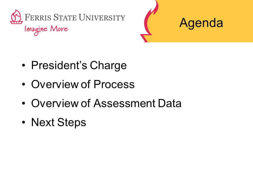 Agenda President's Charge Overview of Process Overview of Assessment Data Next Steps