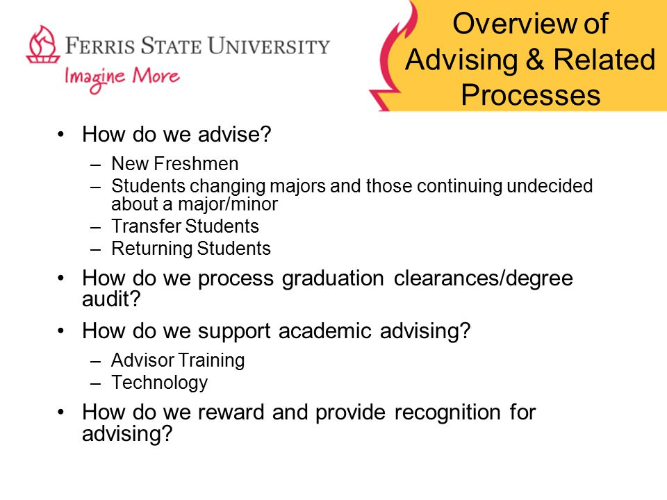 Overview of Advising & Related Processes How do we advise.