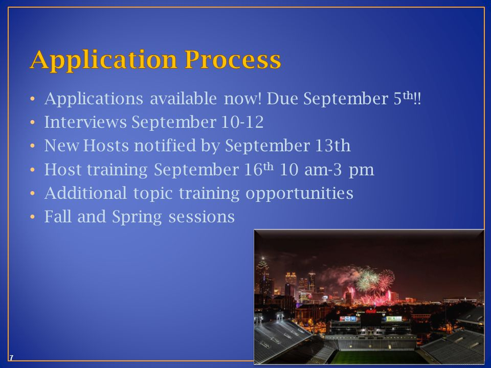 7 Applications available now. Due September 5 th !.