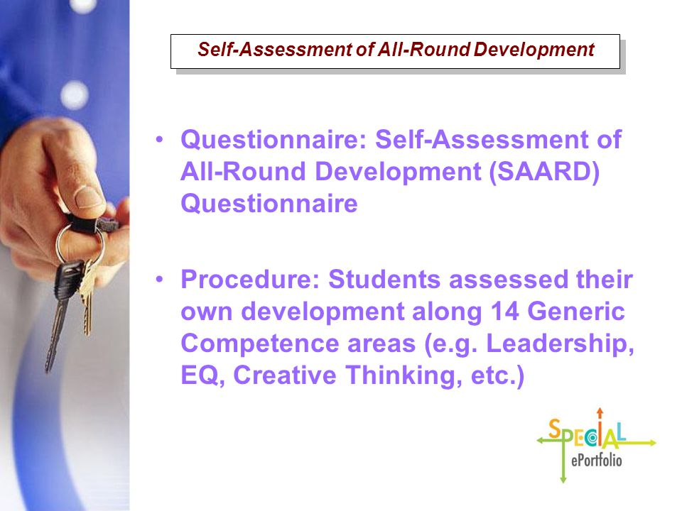 Questionnaire: Self-Assessment of All-Round Development (SAARD) Questionnaire Procedure: Students assessed their own development along 14 Generic Comp