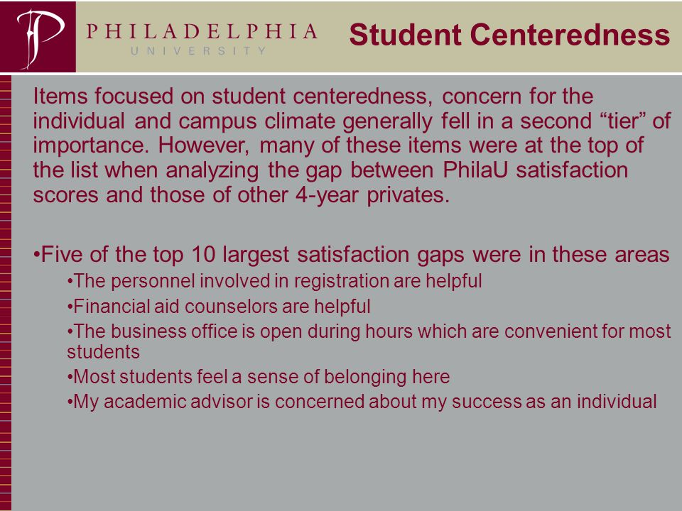 23 Student Centeredness Items focused on student centeredness, concern for the individual and campus climate generally fell in a second tier of importance.