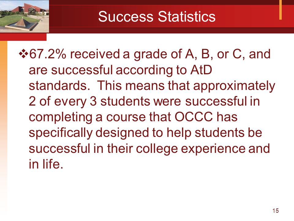 15 Success Statistics  67.2% received a grade of A, B, or C, and are successful according to AtD standards.