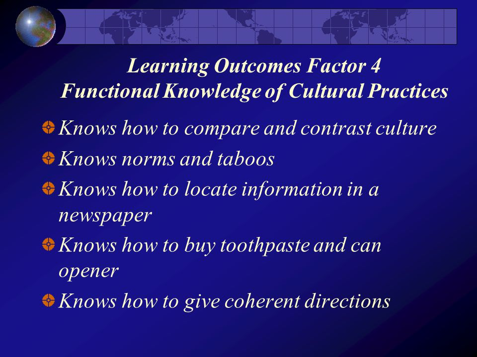 Learning Outcomes Factor 4 Functional Knowledge of Cultural Practices Knows how to compare and contrast culture Knows norms and taboos Knows how to locate information in a newspaper Knows how to buy toothpaste and can opener Knows how to give coherent directions