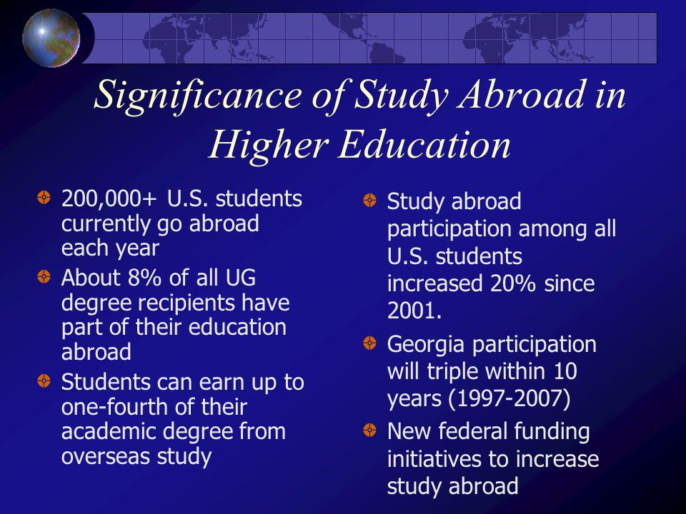 Significance of Study Abroad in Higher Education 200,000+ U.S.