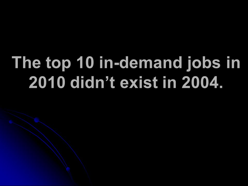 The top 10 in-demand jobs in 2010 didn't exist in 2004.