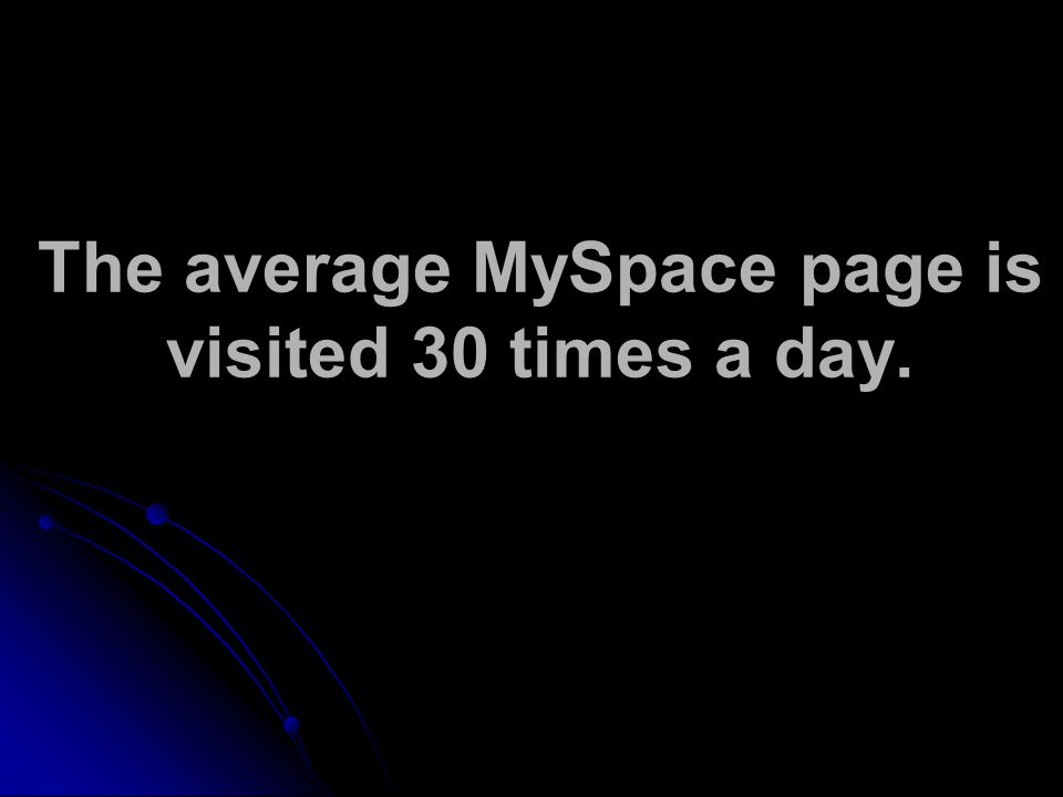 The average MySpace page is visited 30 times a day.