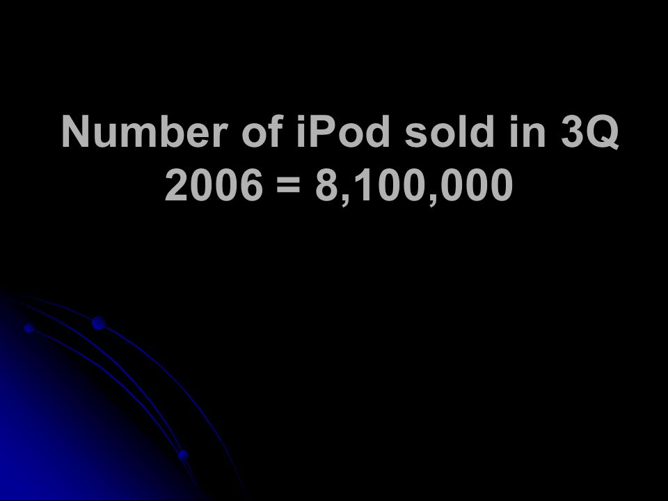 Number of iPod sold in 3Q 2006 = 8,100,000