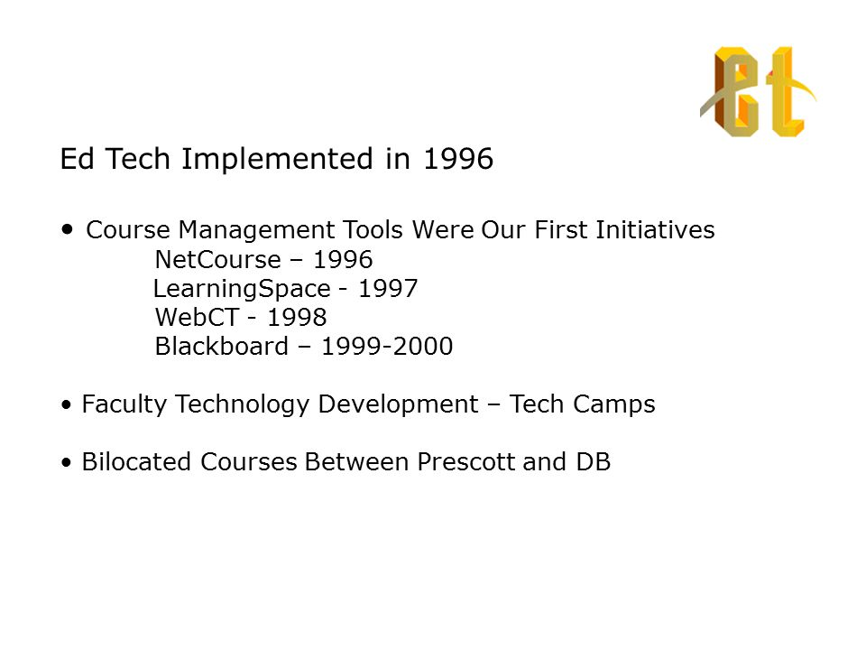 Ed Tech Implemented in 1996 Course Management Tools Were Our First Initiatives NetCourse – 1996 LearningSpace - 1997 WebCT - 1998 Blackboard – 1999-2000 Faculty Technology Development – Tech Camps Bilocated Courses Between Prescott and DB