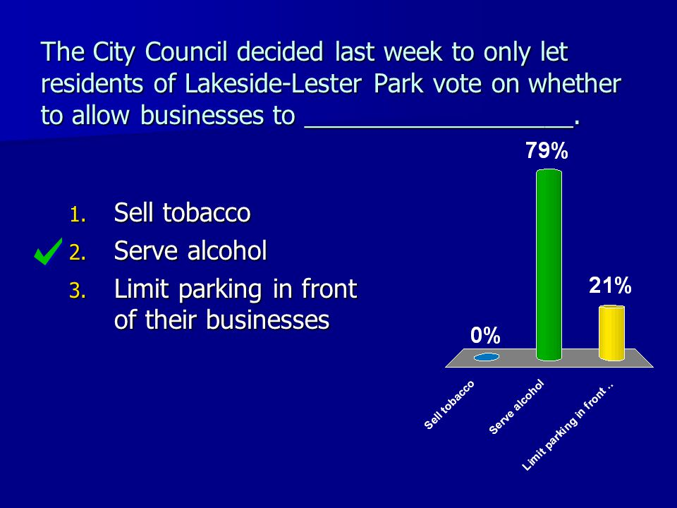 The City Council decided last week to only let residents of Lakeside-Lester Park vote on whether to allow businesses to ___________________. 1. Sell t