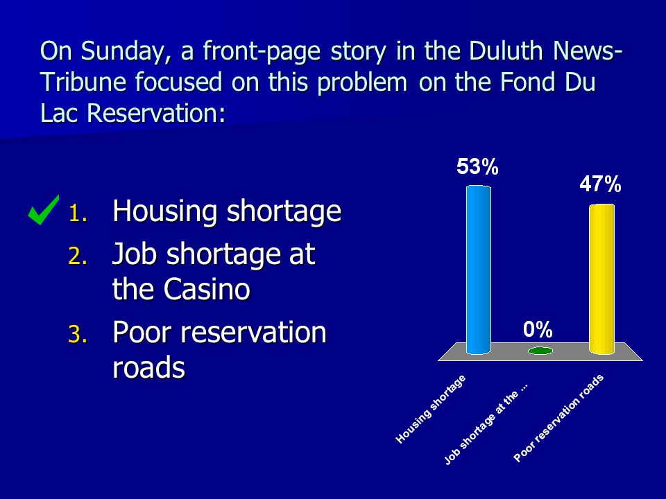 On Sunday, a front-page story in the Duluth News- Tribune focused on this problem on the Fond Du Lac Reservation: 1. Housing shortage 2. Job shortage