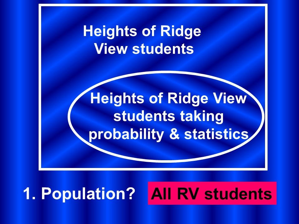 Heights of Ridge View students Heights of Ridge View students taking probability & statistics 1.