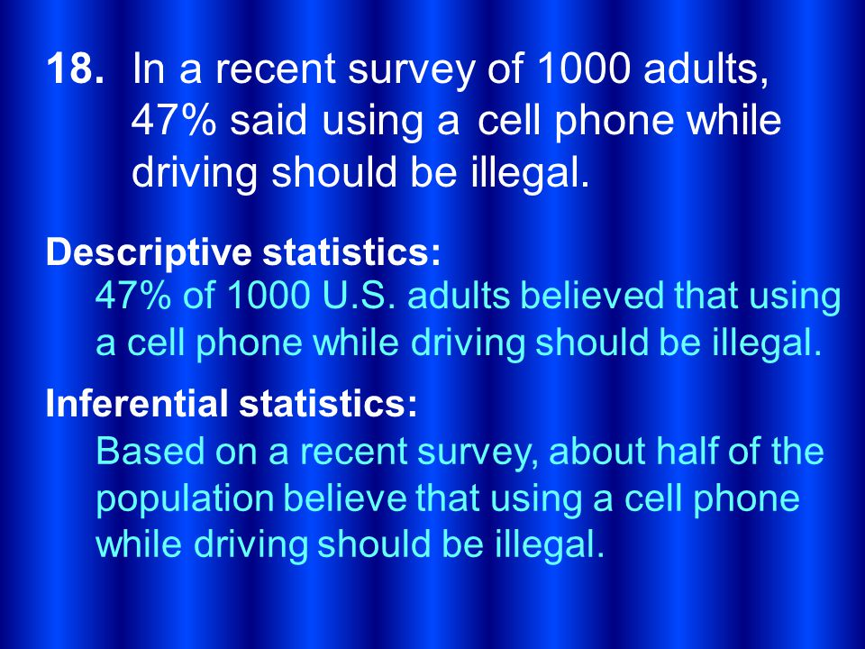 18. In a recent survey of 1000 adults, 47% said using a cell phone while driving should be illegal.