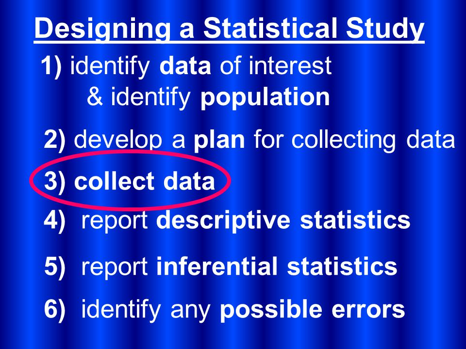 Designing a Statistical Study 2) develop a plan for collecting data 1) identify data of interest & identify population 3) collect data 5) report inferential statistics 4) report descriptive statistics 6) identify any possible errors