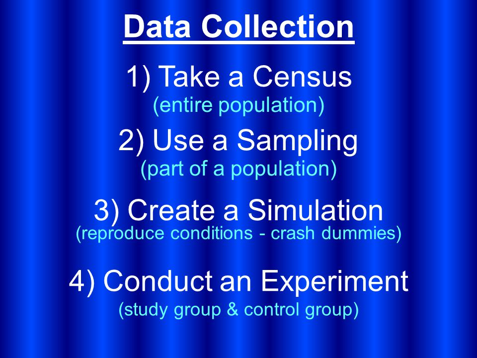 Data Collection 1) Take a Census 2) Use a Sampling (entire population) 3) Create a Simulation (part of a population) 4) Conduct an Experiment (reproduce conditions - crash dummies) (study group & control group)