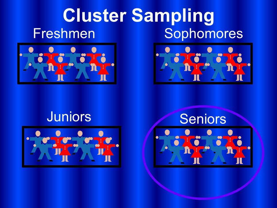 Cluster Sampling FreshmenSophomores Juniors Seniors