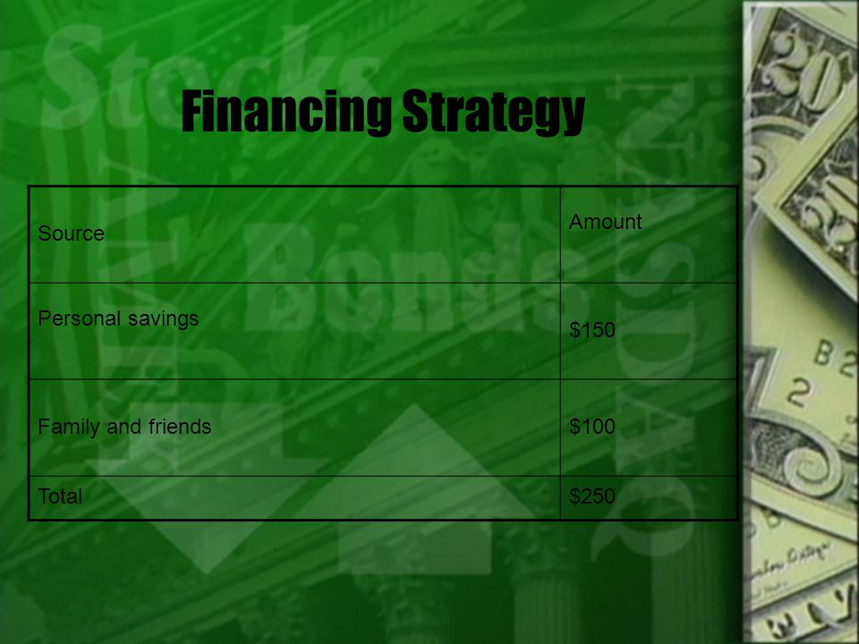 Financing Strategy Source Amount Personal savings $150 Family and friends$100 Total$250