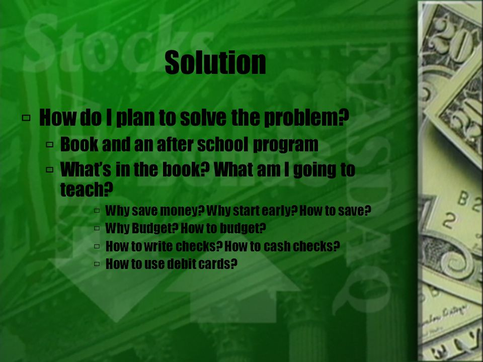 Solution HHow do I plan to solve the problem.