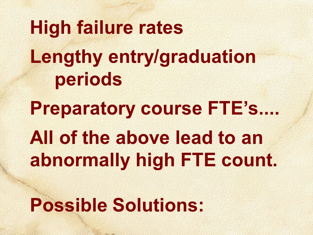 High failure rates Lengthy entry/graduation periods Preparatory course FTE's....
