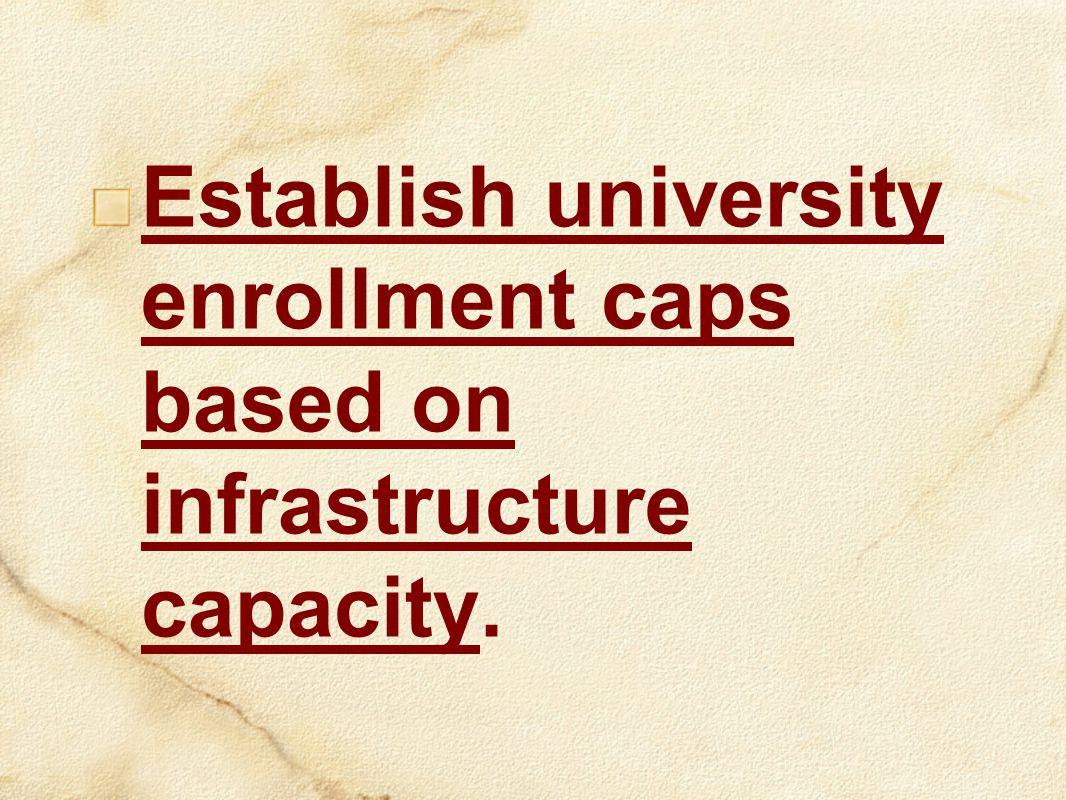 Establish university enrollment caps based on infrastructure capacity.