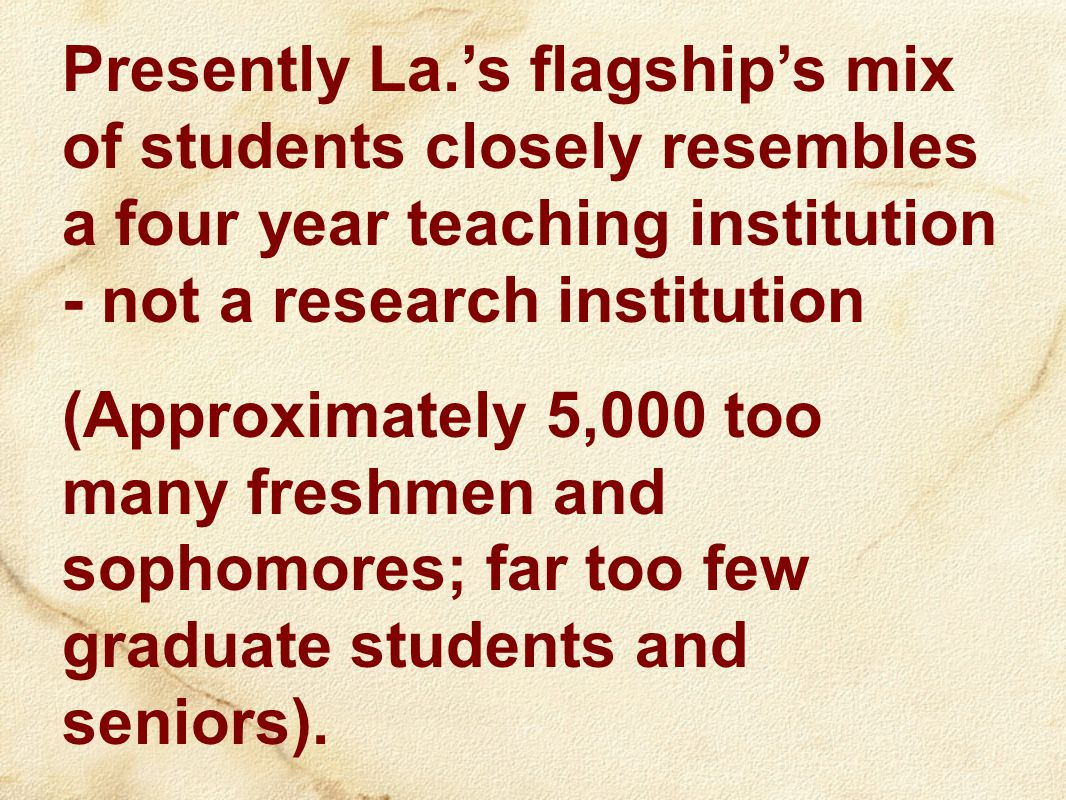 Presently La.'s flagship's mix of students closely resembles a four year teaching institution - not a research institution (Approximately 5,000 too many freshmen and sophomores; far too few graduate students and seniors).