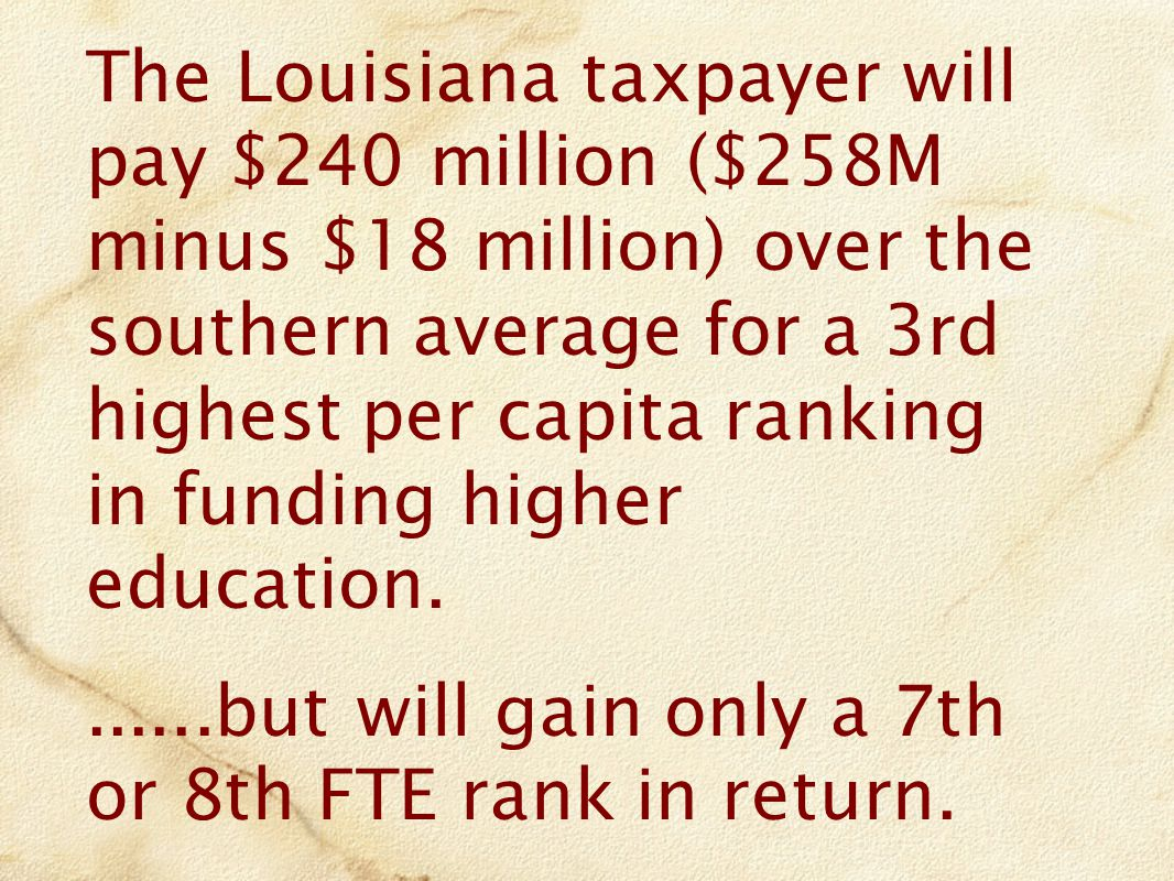 The Louisiana taxpayer will pay $240 million ($258M minus $18 million) over the southern average for a 3rd highest per capita ranking in funding higher education.......but will gain only a 7th or 8th FTE rank in return.