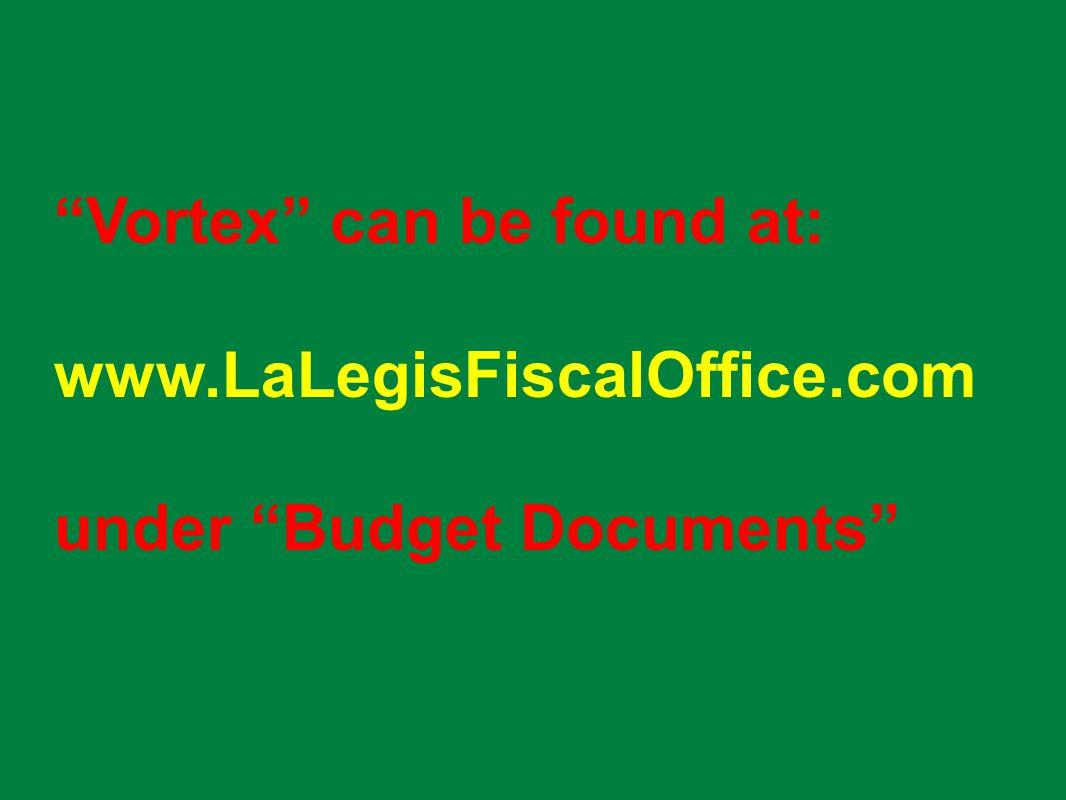 Vortex can be found at: www.LaLegisFiscalOffice.com under Budget Documents