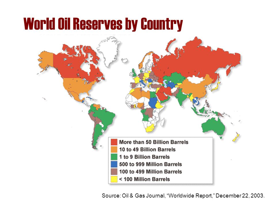 "World Oil Reserves by Country Source: Oil & Gas Journal, ""Worldwide Report,"" December 22, 2003."