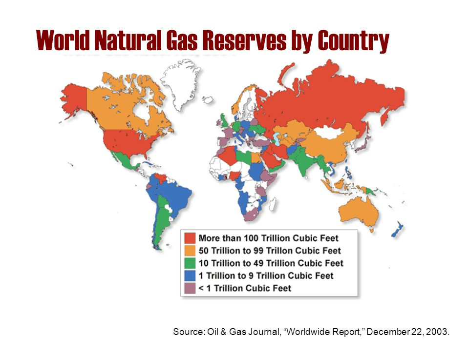 "World Natural Gas Reserves by Country Source: Oil & Gas Journal, ""Worldwide Report,"" December 22, 2003."