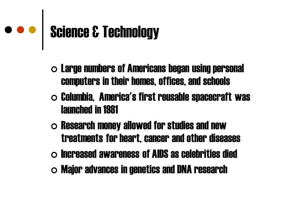 Science & Technology Large numbers of Americans began using personal computers in their homes, offices, and schools Columbia, America's first reusable