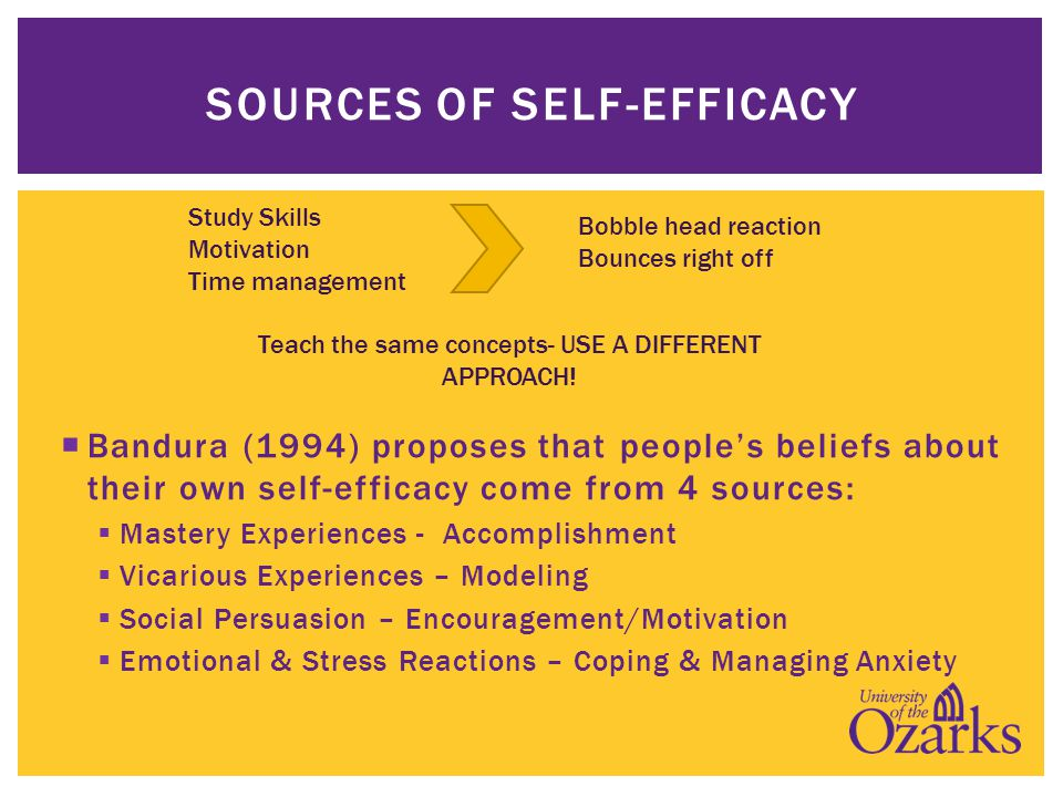  Bandura (1994) proposes that people's beliefs about their own self-efficacy come from 4 sources:  Mastery Experiences - Accomplishment  Vicarious Experiences – Modeling  Social Persuasion – Encouragement/Motivation  Emotional & Stress Reactions – Coping & Managing Anxiety SOURCES OF SELF-EFFICACY Study Skills Motivation Time management Bobble head reaction Bounces right off Teach the same concepts- USE A DIFFERENT APPROACH!