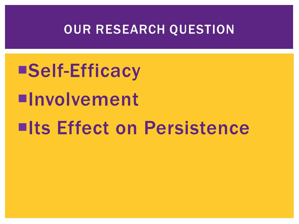  Self-Efficacy  Involvement  Its Effect on Persistence OUR RESEARCH QUESTION