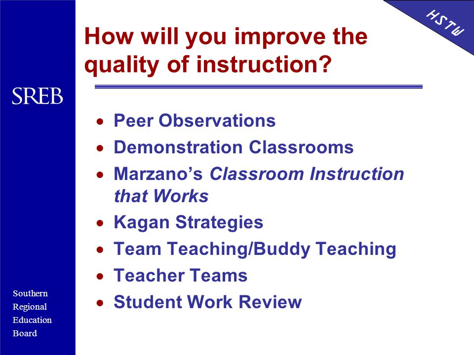 Southern Regional Education Board HSTW How will you improve the quality of instruction?  Peer Observations  Demonstration Classrooms  Marzano's Cla