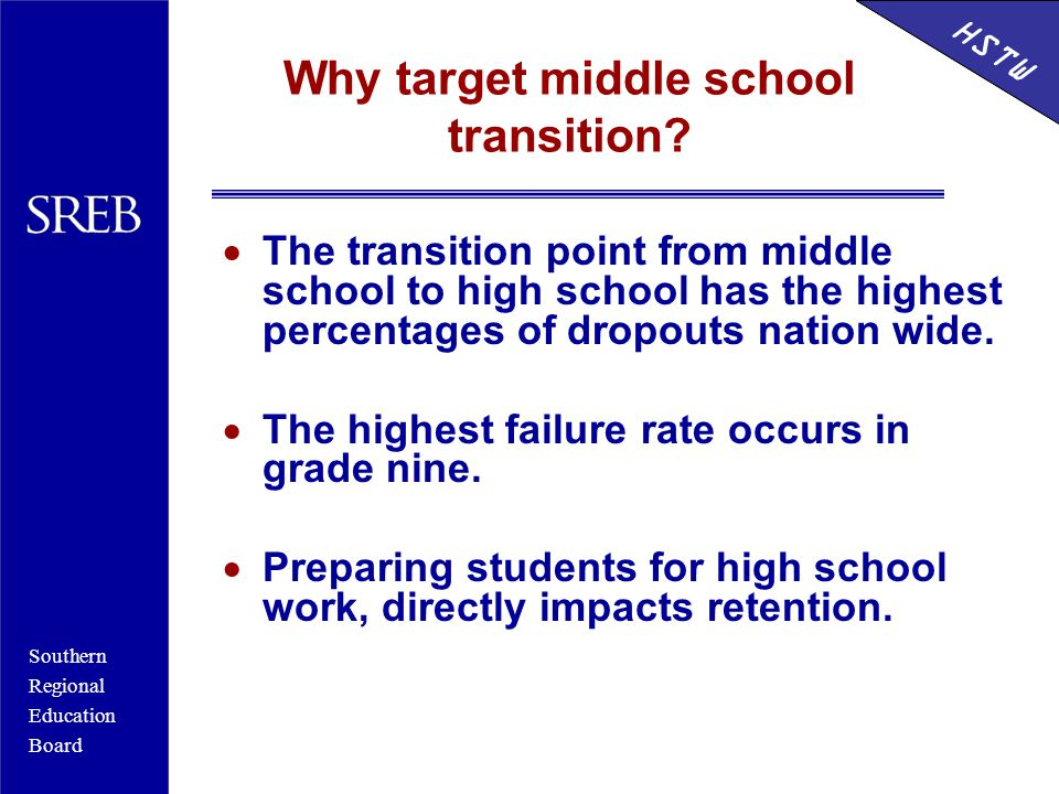 Southern Regional Education Board HSTW Why target middle school transition.