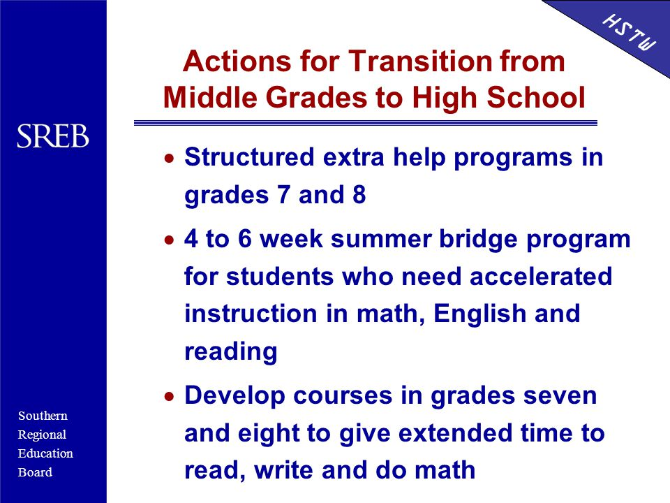 Southern Regional Education Board HSTW Actions for Transition from Middle Grades to High School  Structured extra help programs in grades 7 and 8  4 to 6 week summer bridge program for students who need accelerated instruction in math, English and reading  Develop courses in grades seven and eight to give extended time to read, write and do math HSTW