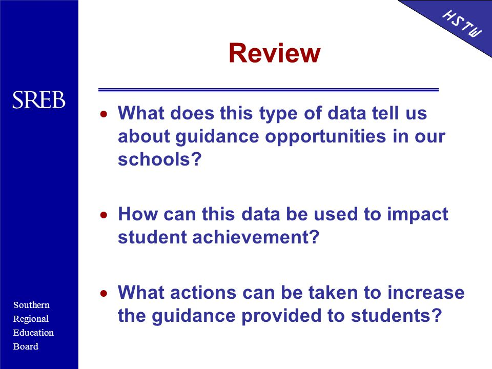 Southern Regional Education Board HSTW Review  What does this type of data tell us about guidance opportunities in our schools.