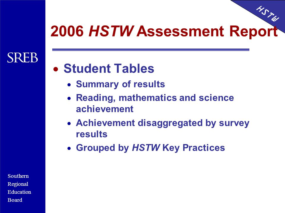 Southern Regional Education Board HSTW 2006 HSTW Assessment Report  Student Tables  Summary of results  Reading, mathematics and science achievement  Achievement disaggregated by survey results  Grouped by HSTW Key Practices