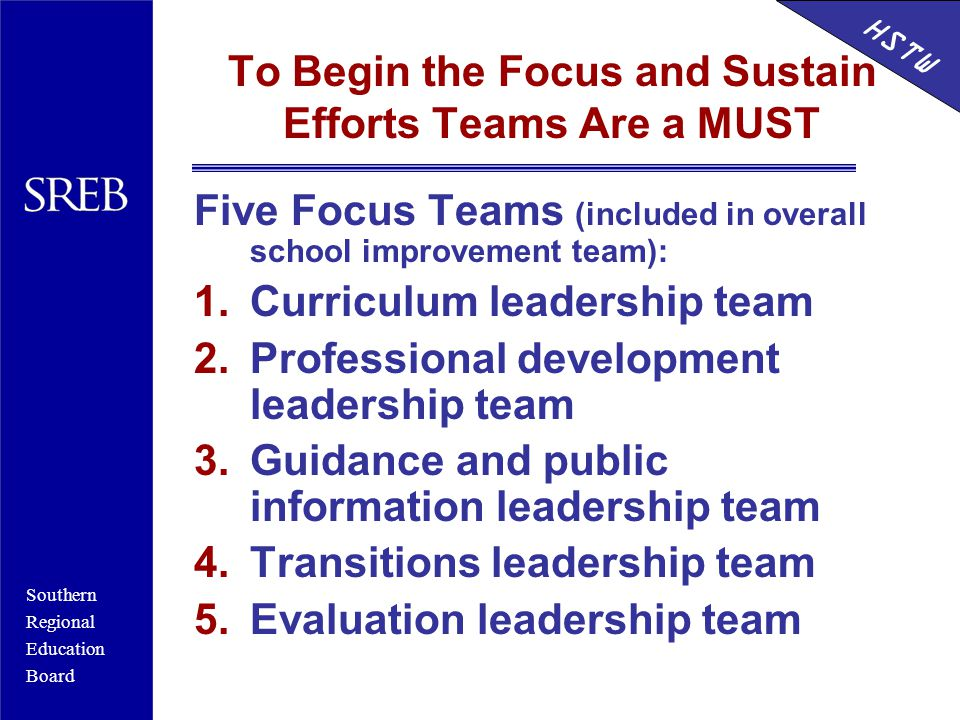 Southern Regional Education Board HSTW To Begin the Focus and Sustain Efforts Teams Are a MUST Five Focus Teams (included in overall school improvement team): 1.Curriculum leadership team 2.Professional development leadership team 3.Guidance and public information leadership team 4.Transitions leadership team 5.Evaluation leadership team