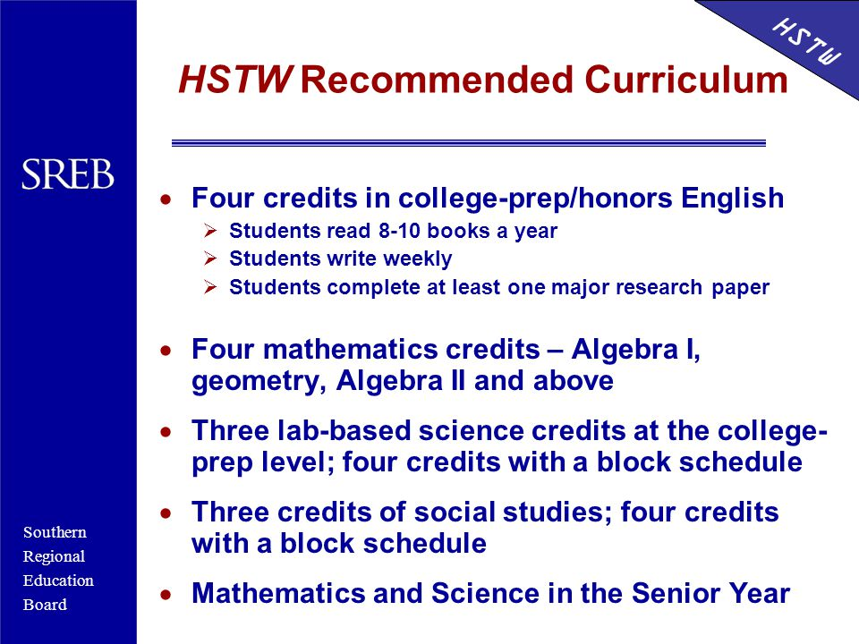 Southern Regional Education Board HSTW HSTW Recommended Curriculum  Four credits in college-prep/honors English  Students read 8-10 books a year  Students write weekly  Students complete at least one major research paper  Four mathematics credits – Algebra I, geometry, Algebra II and above  Three lab-based science credits at the college- prep level; four credits with a block schedule  Three credits of social studies; four credits with a block schedule  Mathematics and Science in the Senior Year HSTW