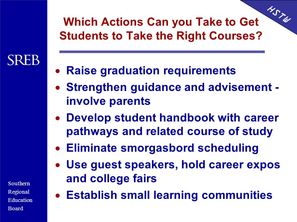 Southern Regional Education Board HSTW Which Actions Can you Take to Get Students to Take the Right Courses.