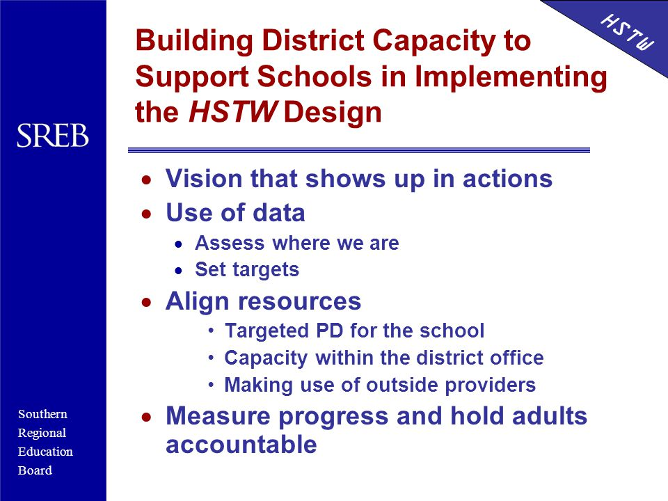 Southern Regional Education Board HSTW Building District Capacity to Support Schools in Implementing the HSTW Design  Vision that shows up in actions