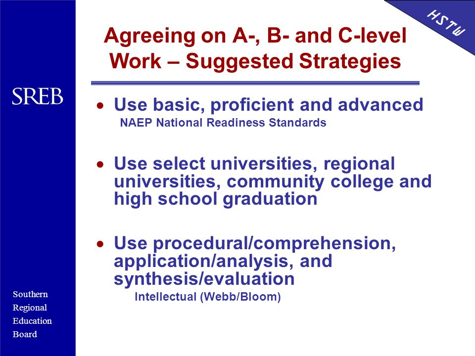 Southern Regional Education Board HSTW Agreeing on A-, B- and C-level Work – Suggested Strategies  Use basic, proficient and advanced NAEP National R