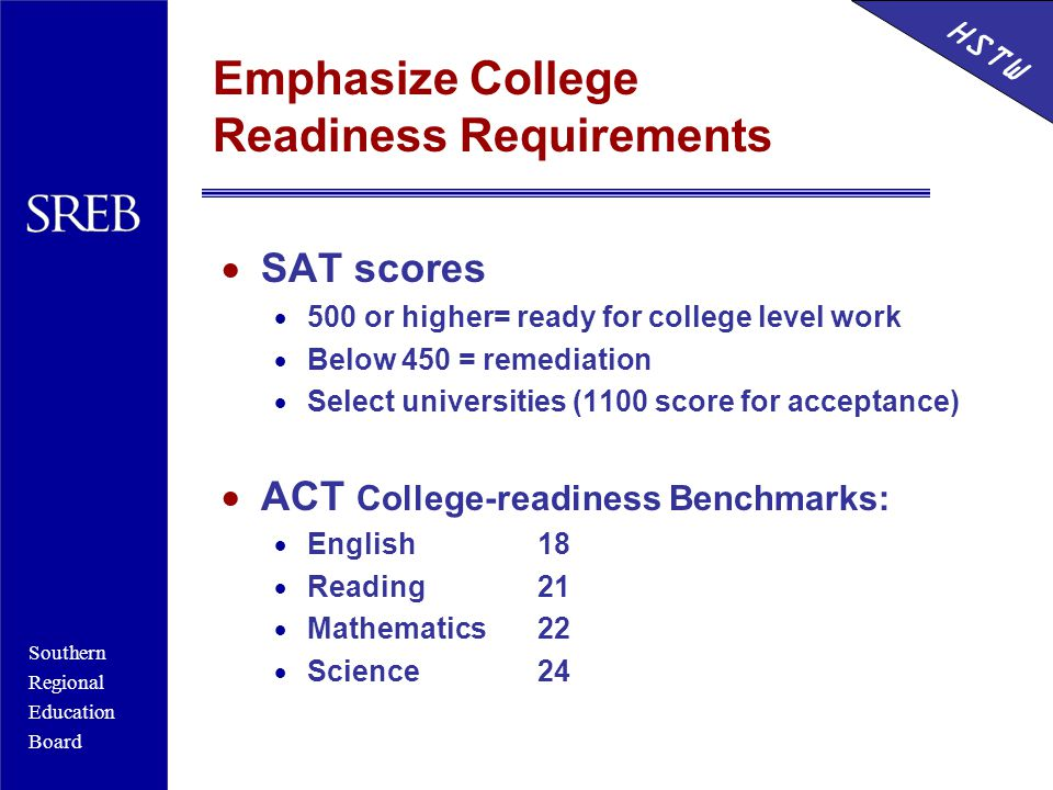 Southern Regional Education Board HSTW Emphasize College Readiness Requirements  SAT scores  500 or higher= ready for college level work  Below 450 = remediation  Select universities (1100 score for acceptance)  ACT College-readiness Benchmarks:  English18  Reading21  Mathematics22  Science24